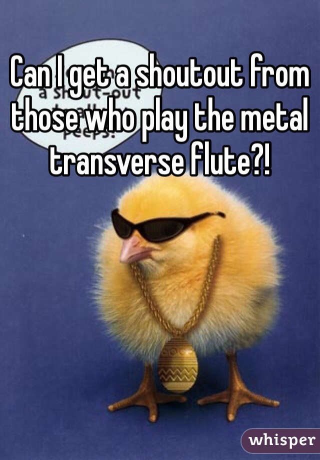 Can I get a shoutout from those who play the metal transverse flute?!