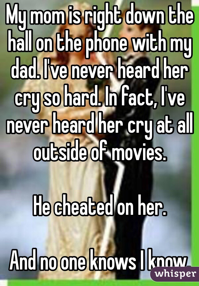 My mom is right down the hall on the phone with my dad. I've never heard her cry so hard. In fact, I've never heard her cry at all outside of movies.   He cheated on her.   And no one knows I know.