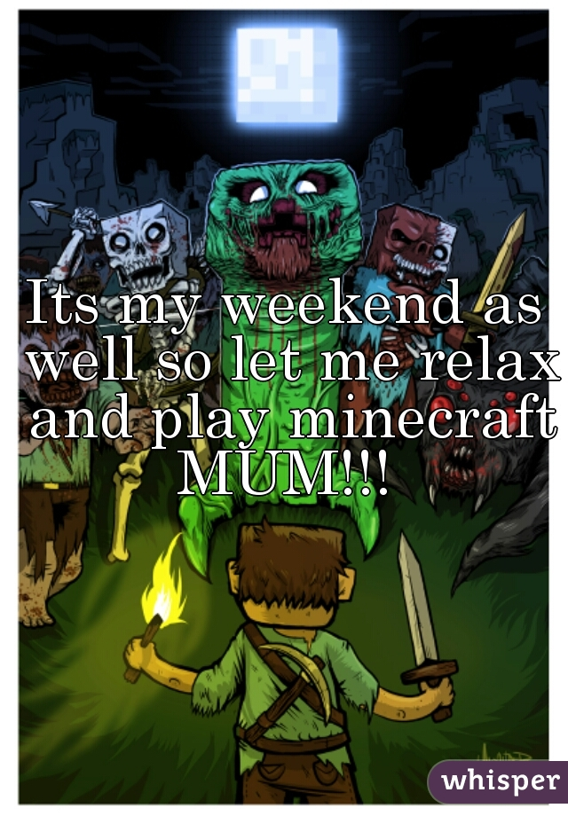 Its my weekend as well so let me relax and play minecraft MUM!!!