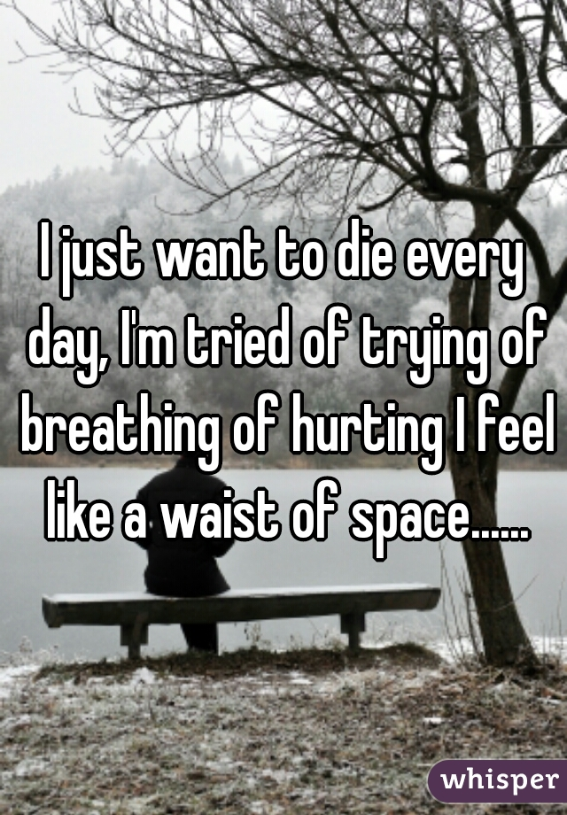 I just want to die every day, I'm tried of trying of breathing of hurting I feel like a waist of space......