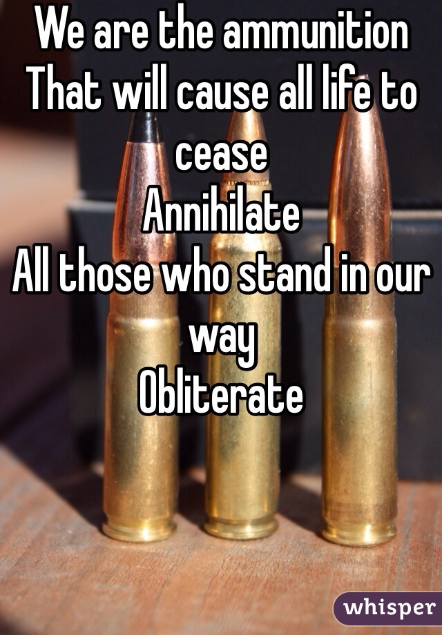 We are the ammunition That will cause all life to cease Annihilate All those who stand in our way Obliterate