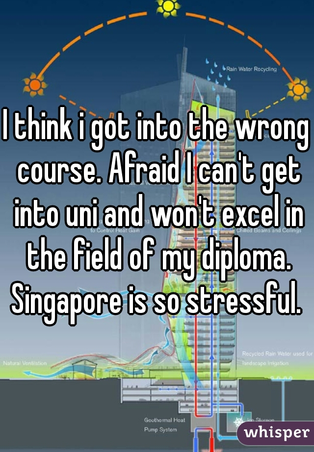 I think i got into the wrong course. Afraid I can't get into uni and won't excel in the field of my diploma. Singapore is so stressful.