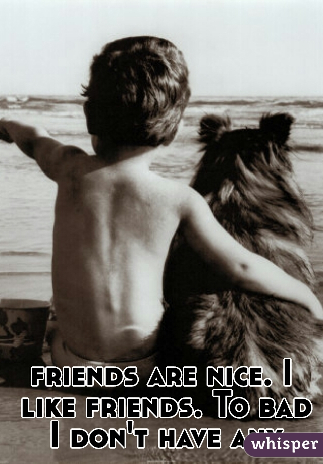 friends are nice. I like friends. To bad I don't have any