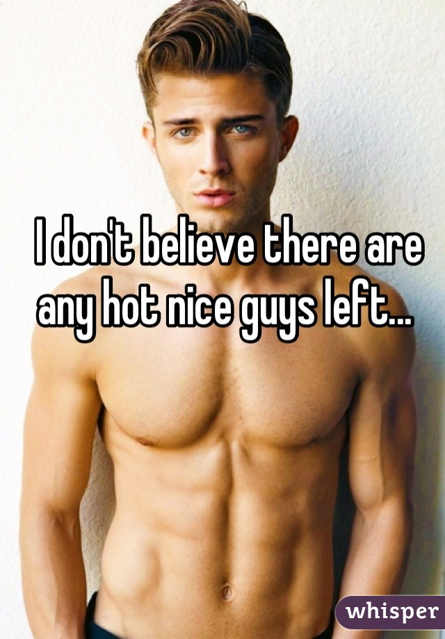 I don't believe there are any hot nice guys left...