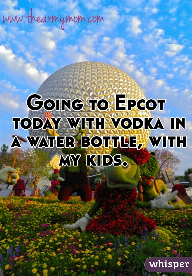 Going to Epcot today with vodka in a water bottle, with my kids.