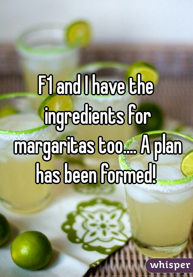 F1 and I have the ingredients for margaritas too.... A plan has been formed!