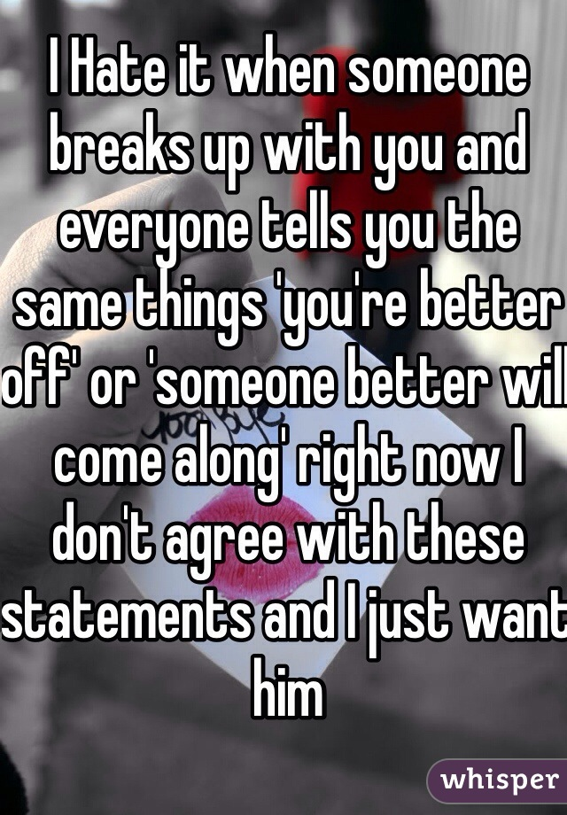I Hate it when someone breaks up with you and everyone tells you the same things 'you're better off' or 'someone better will come along' right now I don't agree with these statements and I just want him