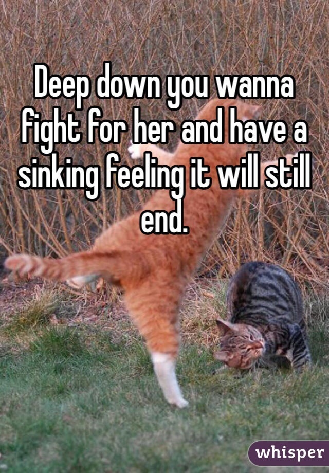 Deep down you wanna fight for her and have a sinking feeling it will still end.