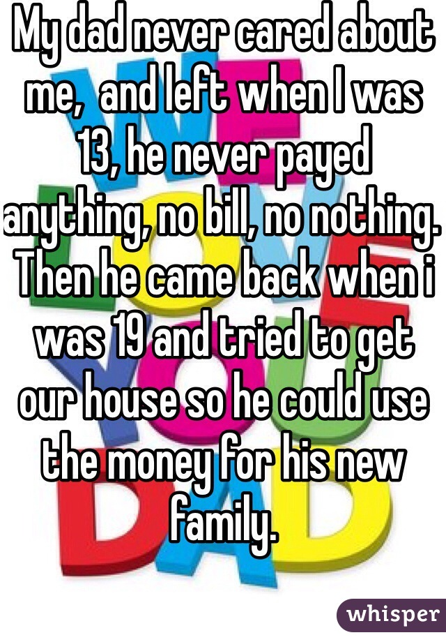 My dad never cared about me,  and left when I was 13, he never payed anything, no bill, no nothing. Then he came back when i was 19 and tried to get our house so he could use the money for his new family.