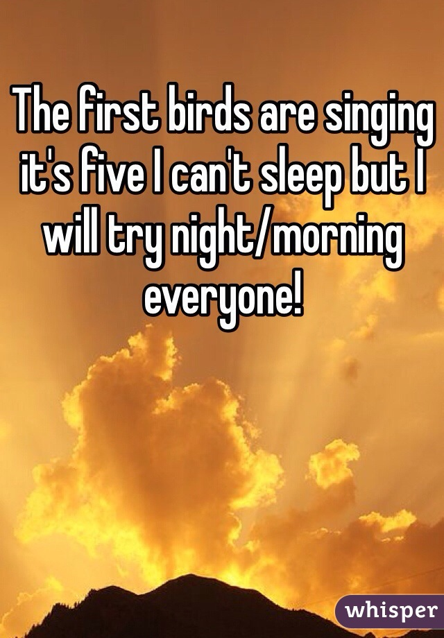 The first birds are singing it's five I can't sleep but I will try night/morning everyone!