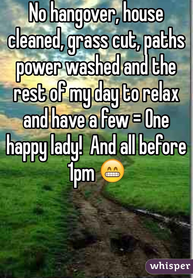 No hangover, house cleaned, grass cut, paths power washed and the rest of my day to relax and have a few = One happy lady!  And all before 1pm 😁
