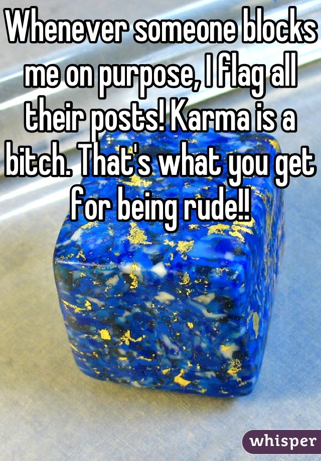 Whenever someone blocks me on purpose, I flag all their posts! Karma is a bitch. That's what you get for being rude!!