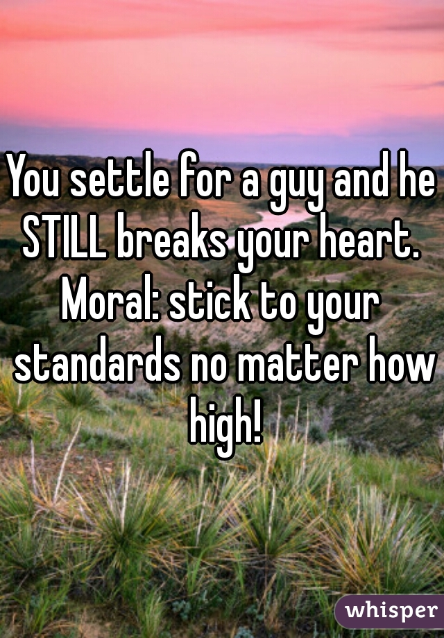 You settle for a guy and he STILL breaks your heart.  Moral: stick to your standards no matter how high!