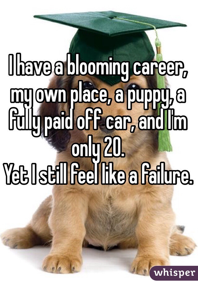 I have a blooming career, my own place, a puppy, a fully paid off car, and I'm only 20.  Yet I still feel like a failure.