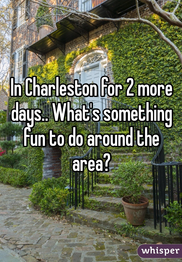 In Charleston for 2 more days.. What's something fun to do around the area?