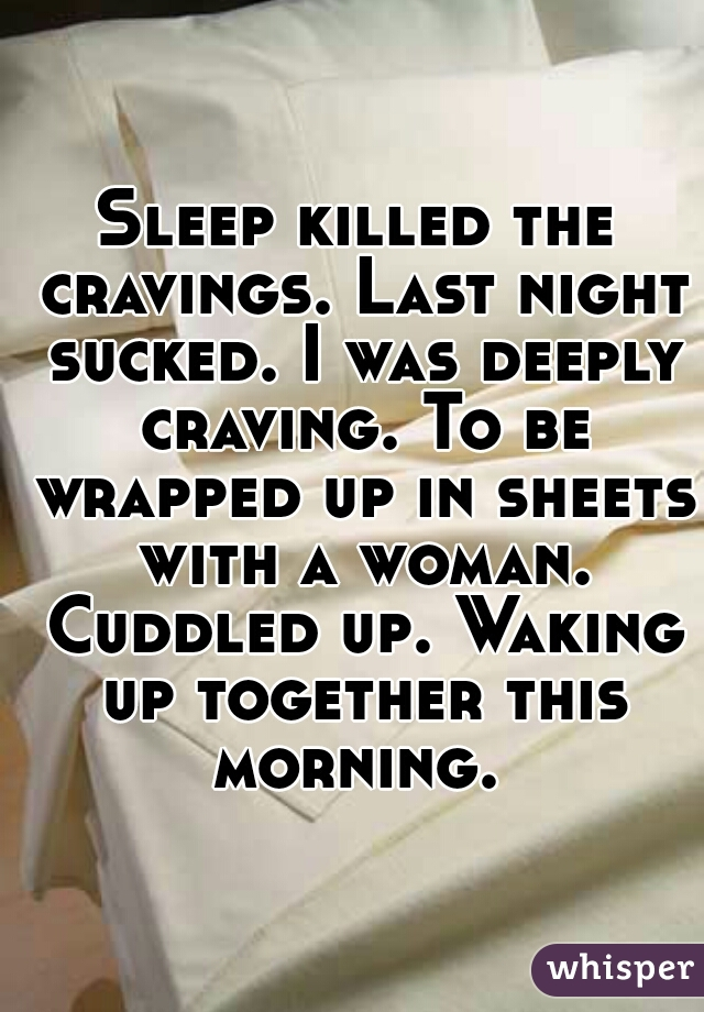 Sleep killed the cravings. Last night sucked. I was deeply craving. To be wrapped up in sheets with a woman. Cuddled up. Waking up together this morning.