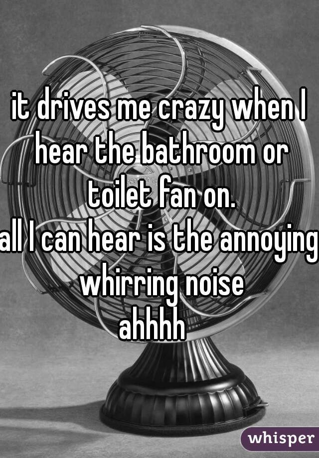 it drives me crazy when I hear the bathroom or toilet fan on. all I can hear is the annoying whirring noise ahhhh