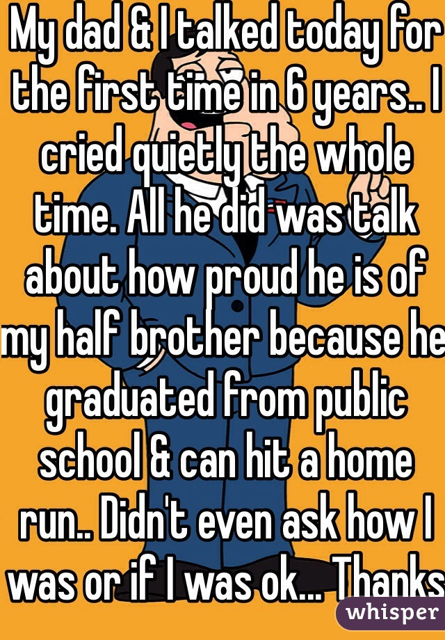 My dad & I talked today for the first time in 6 years.. I cried quietly the whole time. All he did was talk about how proud he is of my half brother because he graduated from public school & can hit a home run.. Didn't even ask how I was or if I was ok... Thanks dad... :/