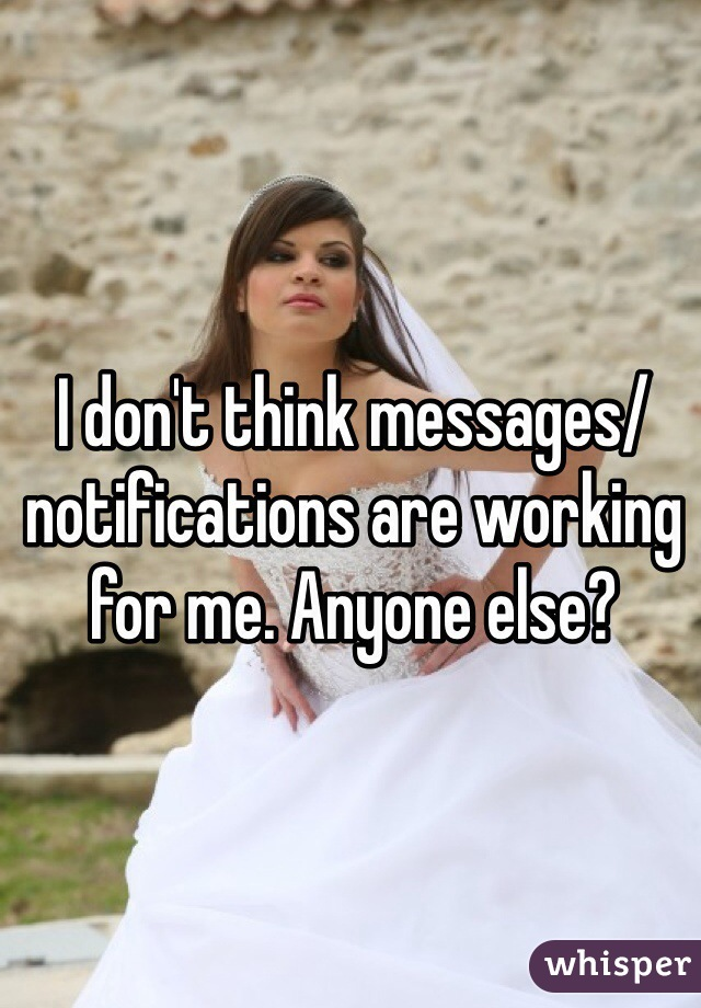 I don't think messages/notifications are working for me. Anyone else?