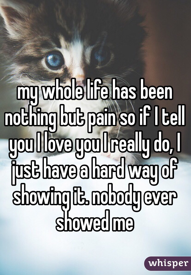 my whole life has been nothing but pain so if I tell you I love you I really do, I just have a hard way of showing it. nobody ever showed me