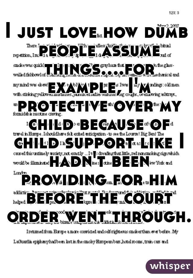 I just love how dumb people assume things....for example, I'm protective over my child because of child support like I hadn't been providing for him before the court order went through.