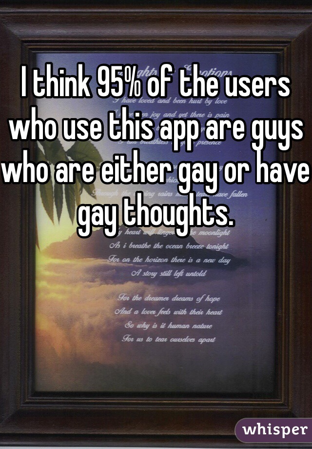 I think 95% of the users who use this app are guys who are either gay or have gay thoughts.