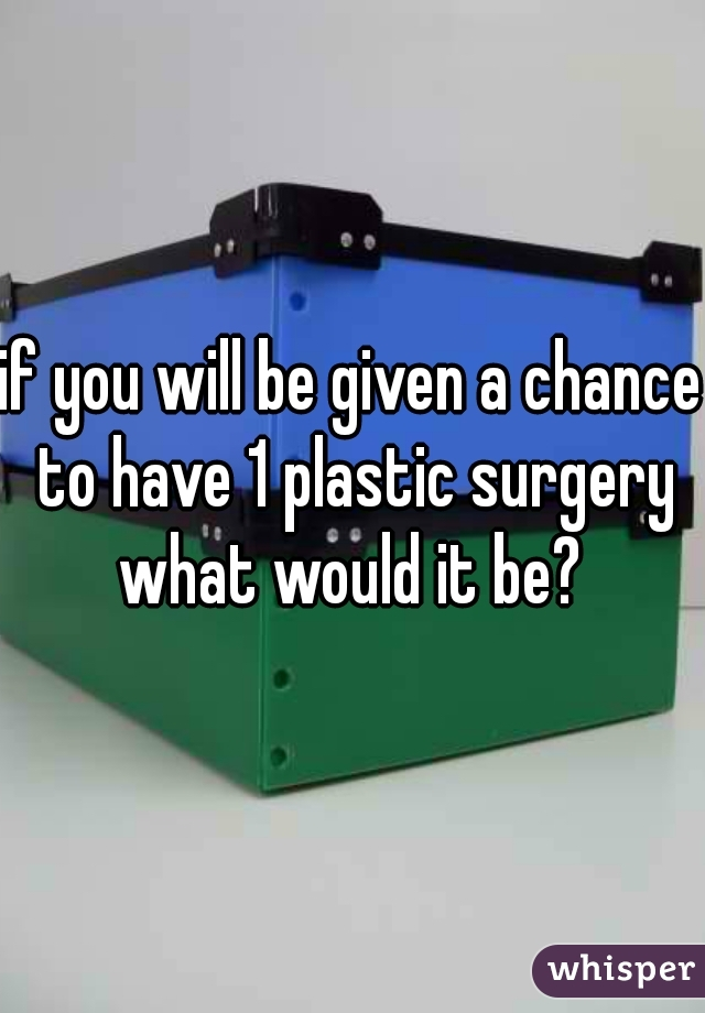 if you will be given a chance to have 1 plastic surgery what would it be?