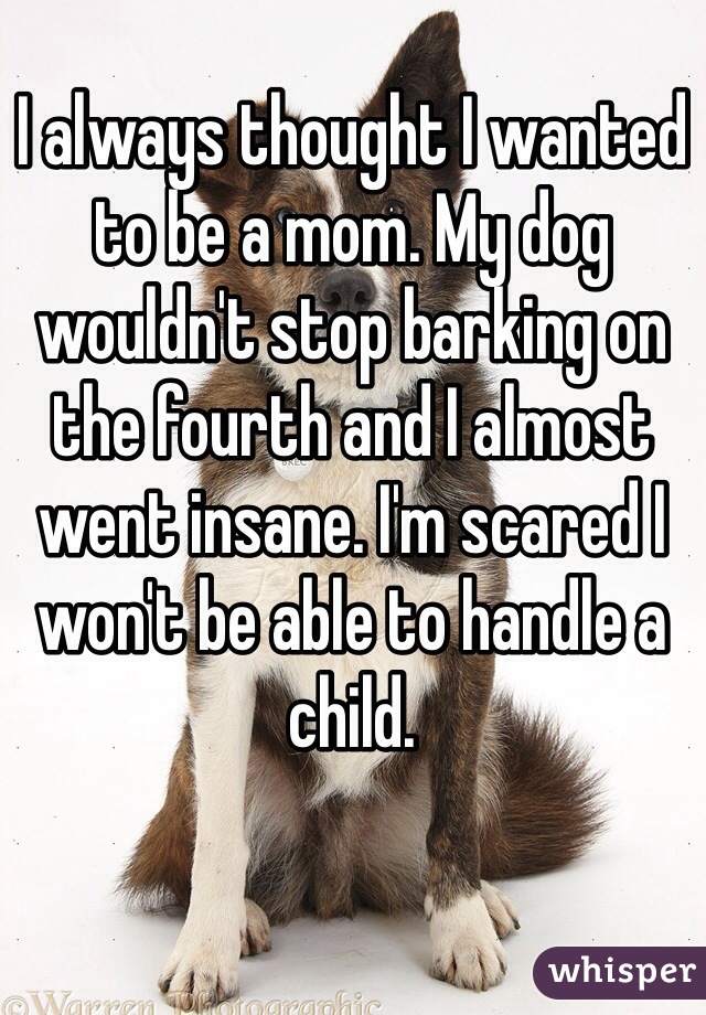 I always thought I wanted to be a mom. My dog wouldn't stop barking on the fourth and I almost went insane. I'm scared I won't be able to handle a child.