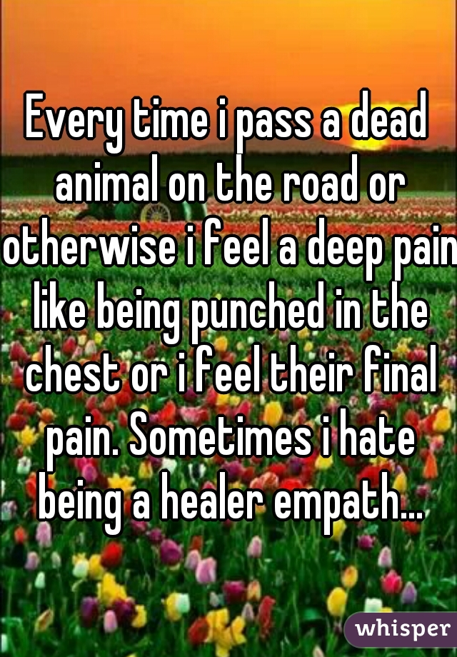 Every time i pass a dead animal on the road or otherwise i feel a deep pain like being punched in the chest or i feel their final pain. Sometimes i hate being a healer empath...