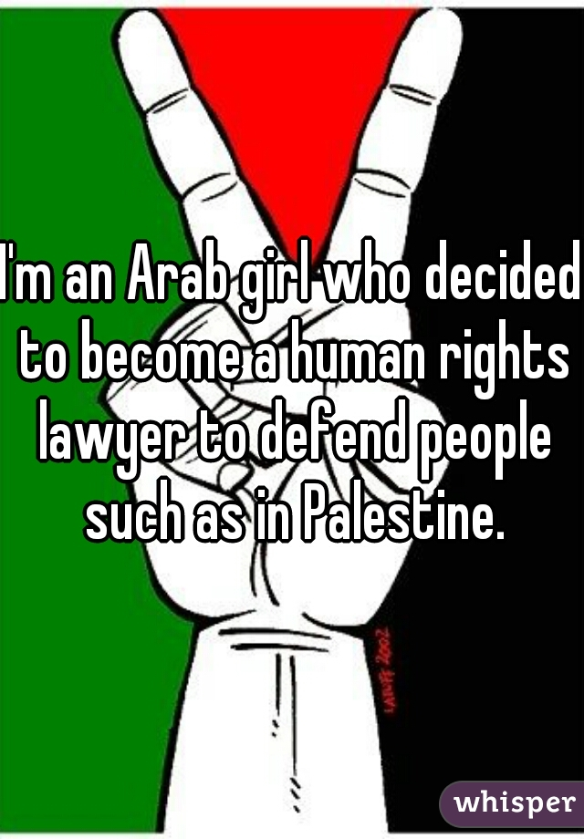 I'm an Arab girl who decided to become a human rights lawyer to defend people such as in Palestine.
