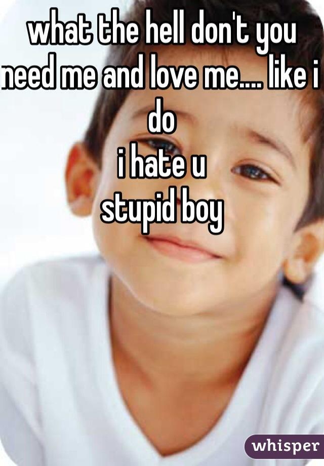 what the hell don't you need me and love me.... like i do  i hate u  stupid boy