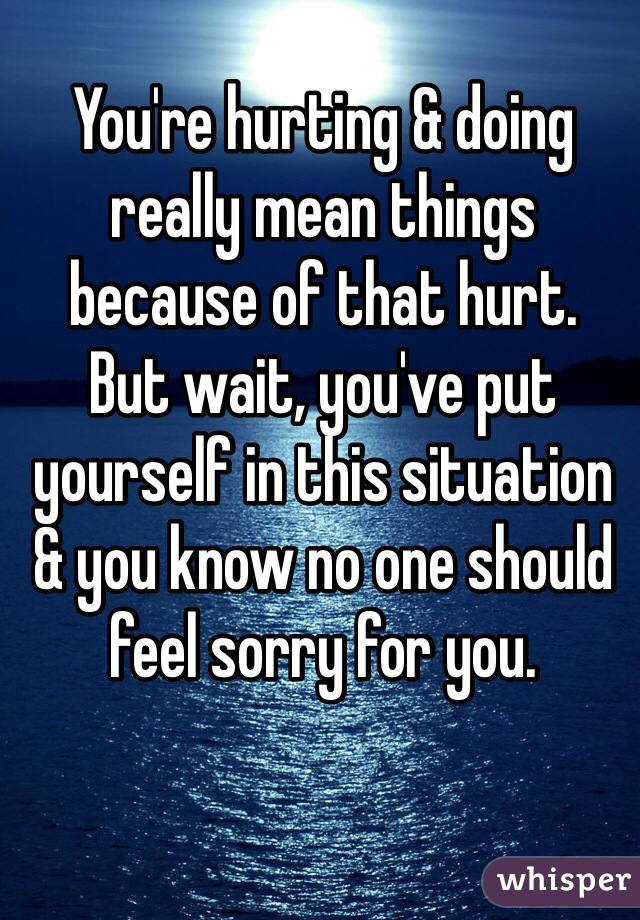 You're hurting & doing really mean things because of that hurt. But wait, you've put yourself in this situation & you know no one should feel sorry for you.
