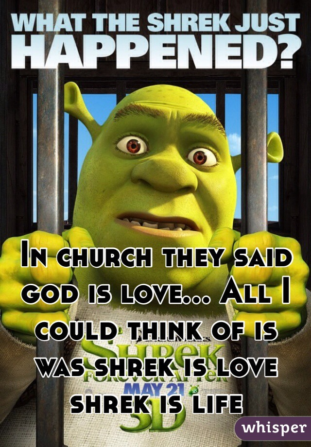 In church they said god is love... All I could think of is was shrek is love shrek is life