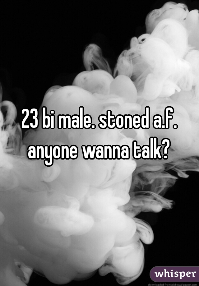 23 bi male. stoned a.f. anyone wanna talk?
