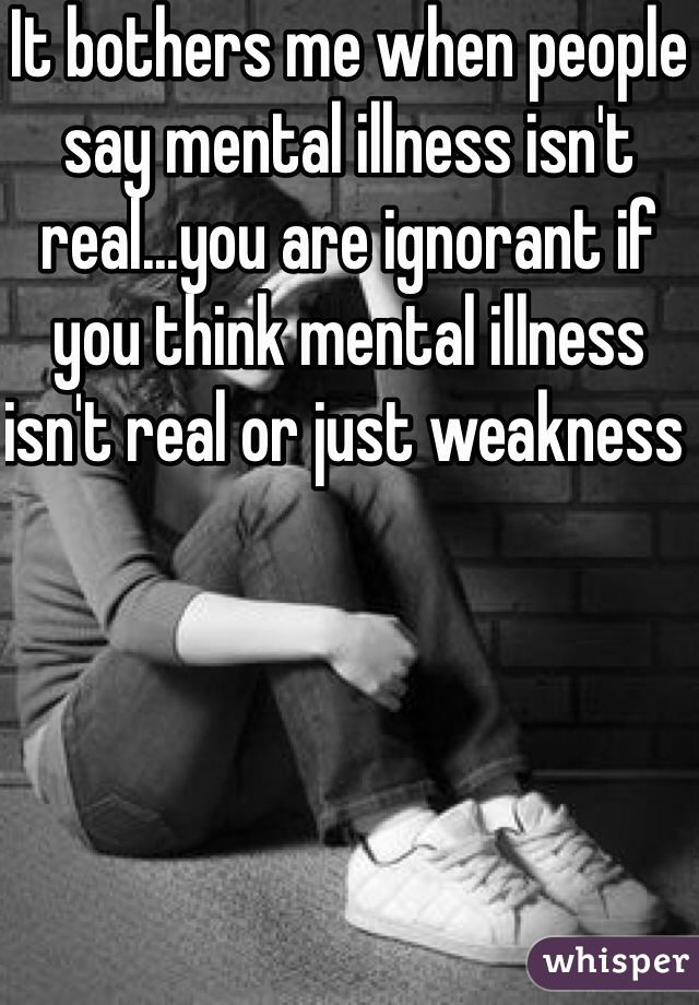 It bothers me when people say mental illness isn't real...you are ignorant if you think mental illness isn't real or just weakness