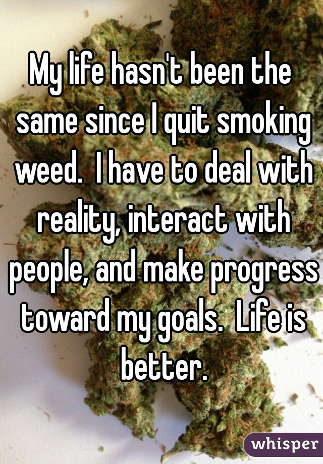 My life hasn't been the same since I quit smoking weed.  I have to deal with reality, interact with people, and make progress toward my goals.  Life is better.