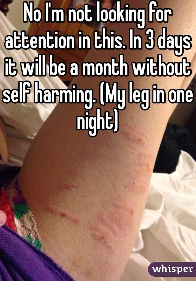 No I'm not looking for attention in this. In 3 days it will be a month without self harming. (My leg in one night)