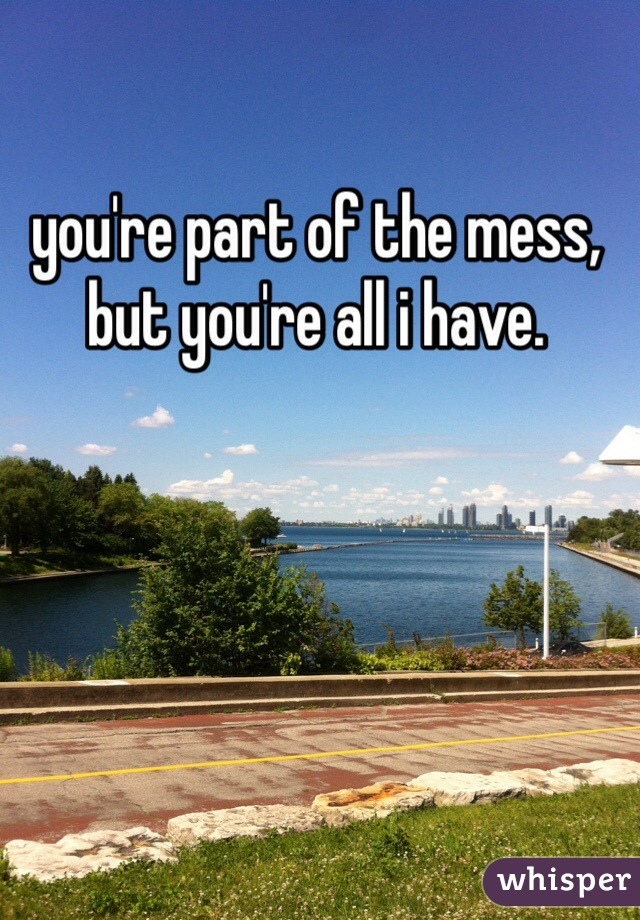you're part of the mess, but you're all i have.