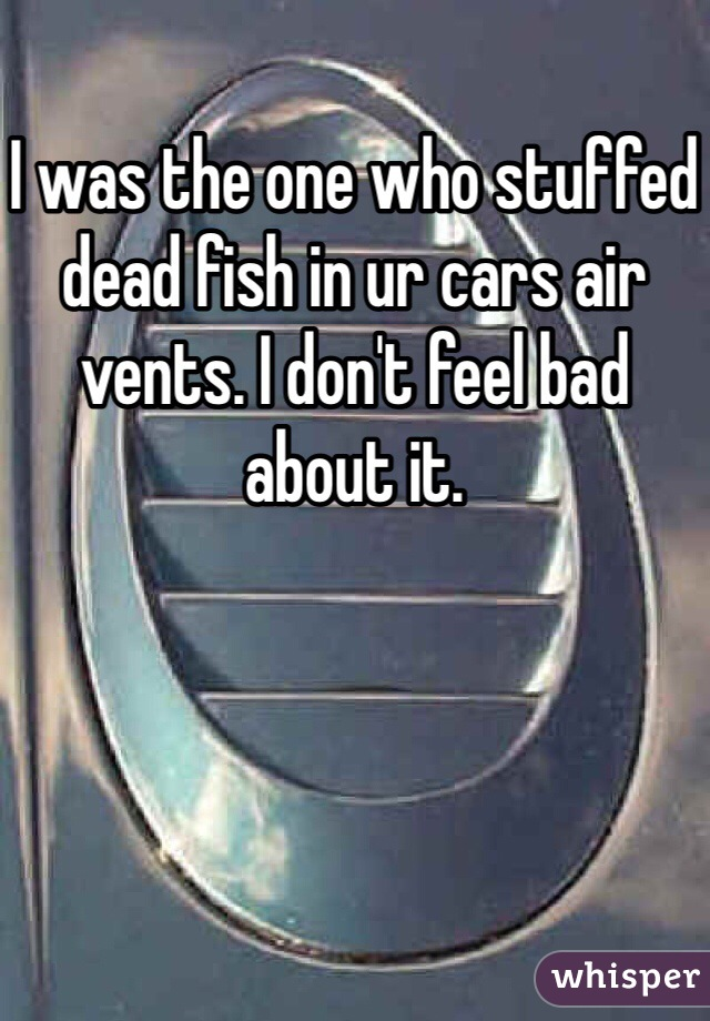 I was the one who stuffed dead fish in ur cars air vents. I don't feel bad about it.