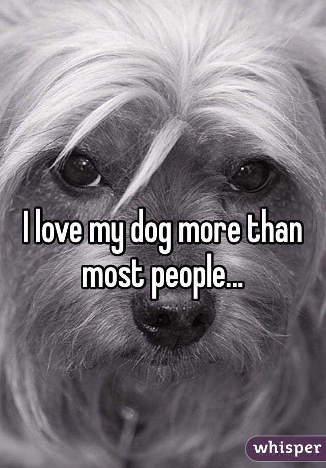 I love my dog more than most people...