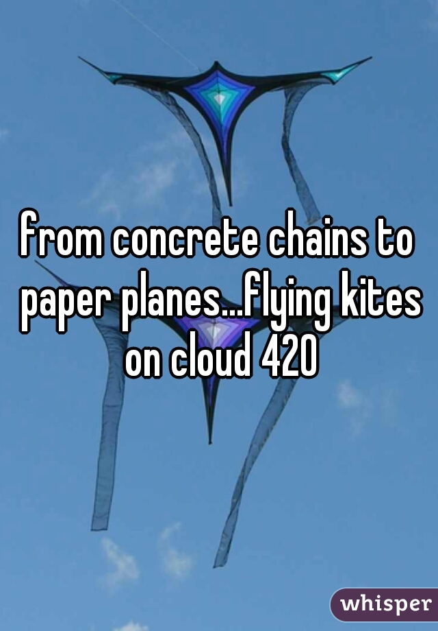 from concrete chains to paper planes...flying kites on cloud 420