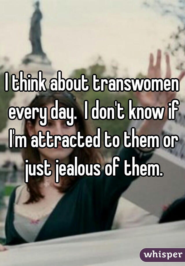 I think about transwomen every day.  I don't know if I'm attracted to them or just jealous of them.