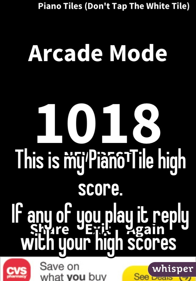 This is my Piano Tile high score. If any of you play it reply with your high scores