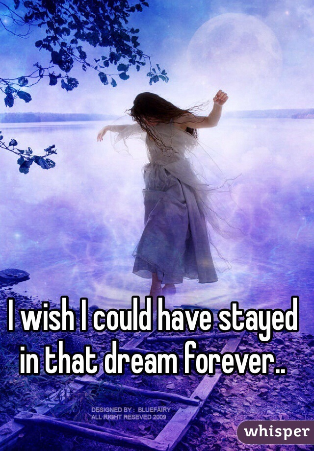 I wish I could have stayed in that dream forever..
