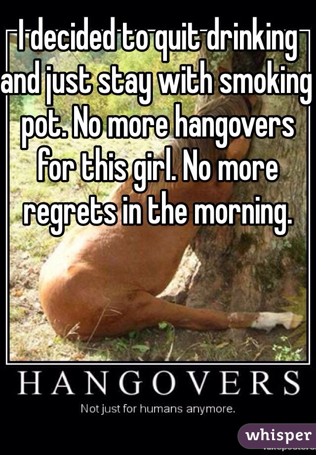 I decided to quit drinking and just stay with smoking pot. No more hangovers for this girl. No more regrets in the morning.