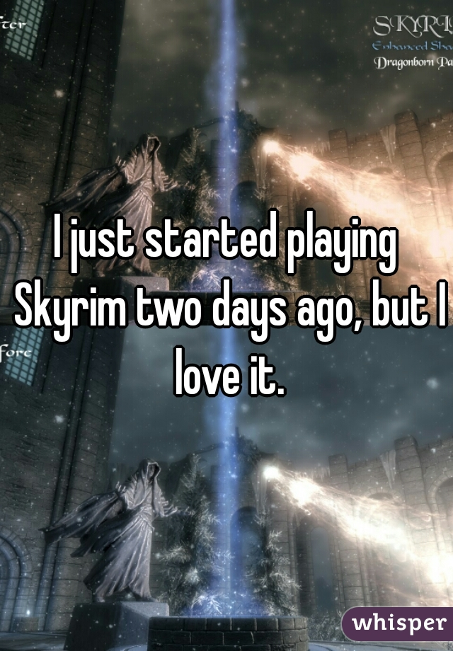 I just started playing Skyrim two days ago, but I love it.