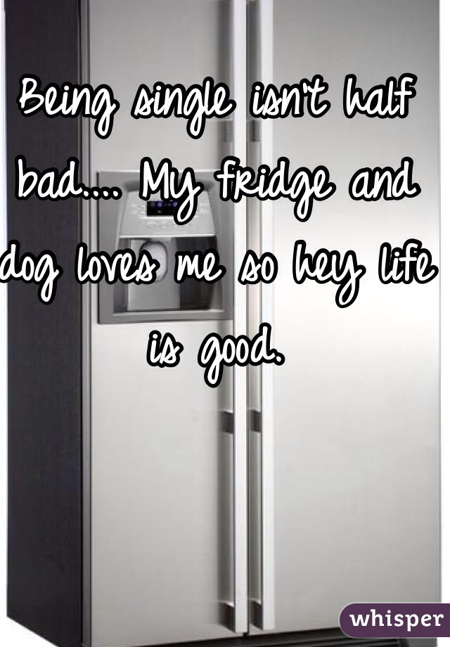 Being single isn't half bad.... My fridge and dog loves me so hey life is good.