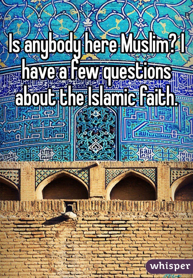 Is anybody here Muslim? I have a few questions about the Islamic faith.