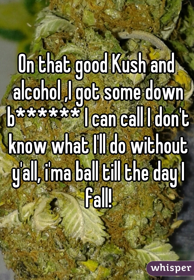 On that good Kush and alcohol ,I got some down b****** I can call I don't know what I'll do without y'all, i'ma ball till the day I fall!