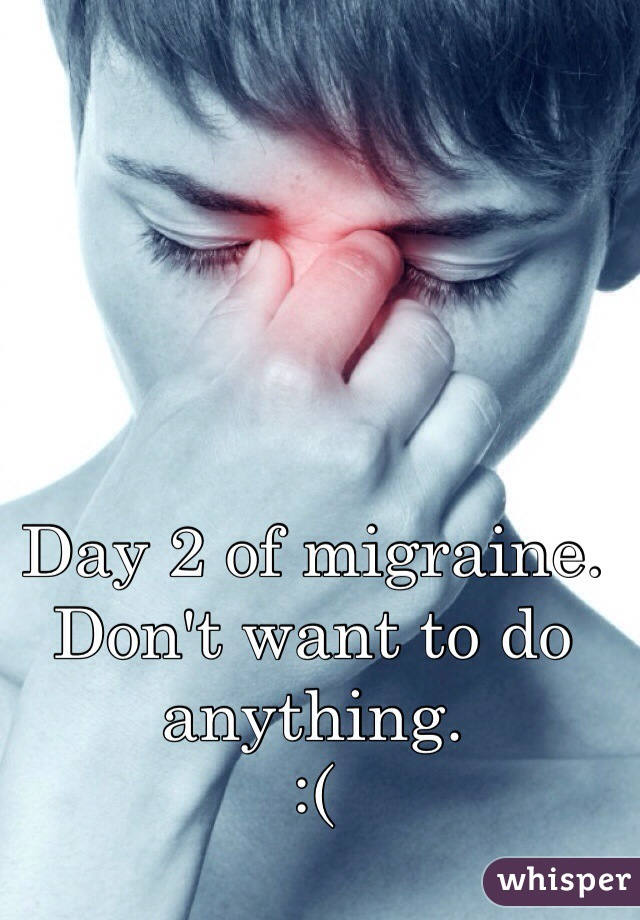 Day 2 of migraine.  Don't want to do anything.  :(